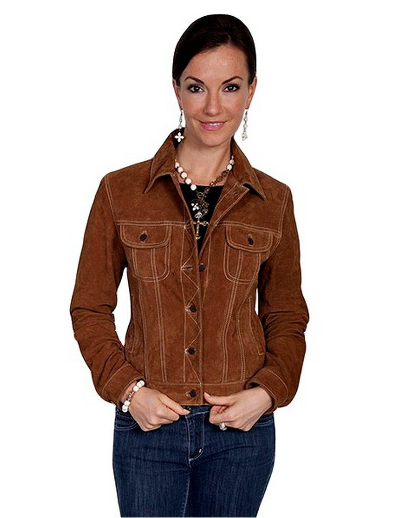 Scully Women's Suede Denim-Style Jacket Brown Large by Scully