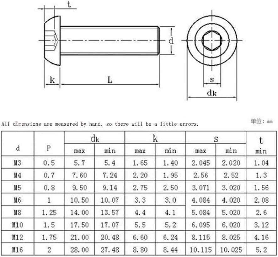 fujiyuan 20/PCS Innensechskant Schraube Rund Kopf Sechskantschraube Hardware Zubeh/ör M5/Werkzeug Carbon Stahl schwarz