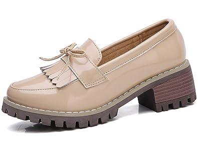 44b03385866 WUIWUIYU Femme Chaussures de Ville à Enfiler Brogues Mocassins en Cuir avec  Noeud -Beige 35
