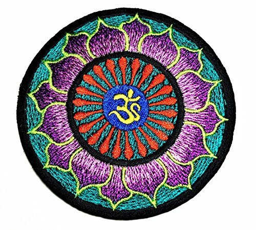 HHO Purple Green Psychedelic Hippie Lotus Patch Embroidered DIY Patches, Cute Applique Sew Iron on Kids Craft Patch for Bags Jackets Jeans Clothes ()