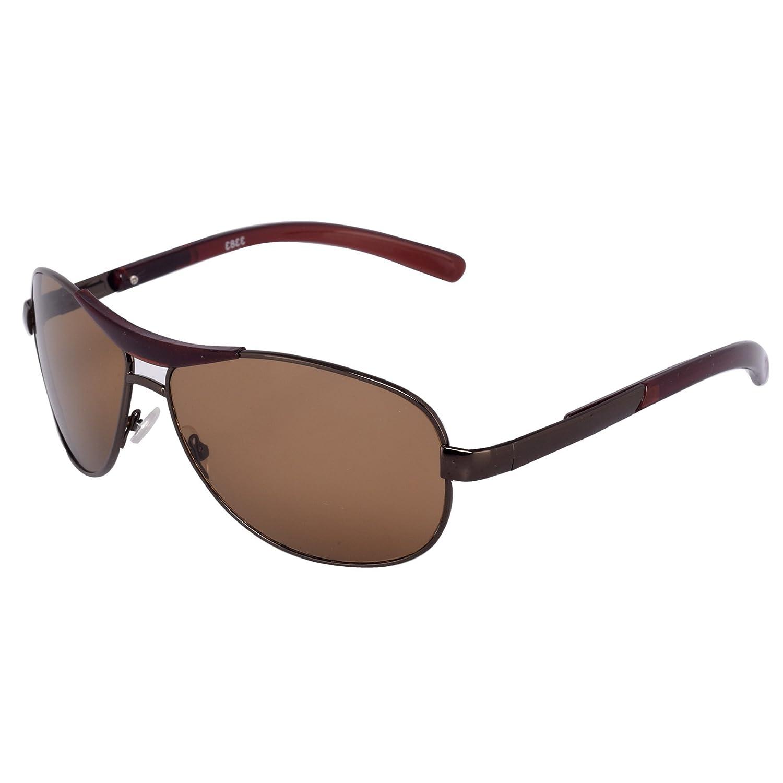 Silver Kartz Oval Unisex Sunglasses (wy073|40|Brown): Amazon.in ...