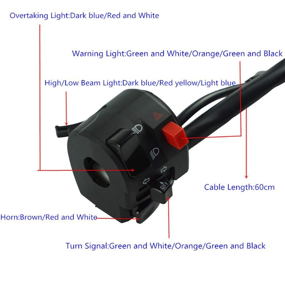 KY PLUS 7//822mm Interruttori per motocicli Montare la spia luminosa Girare il segnale Avvio accensione clacson Uccidi i comandi del manubrio della motocicletta Colore : Left-right