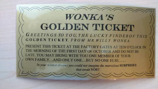 photo relating to Wonka Golden Ticket Printable known as Wonkamania WILLY WONKA GOLDEN TICKET ~ LAMINATED - 6 1/4 x 3 1/4