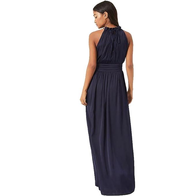Little Mistress - Vestido Largo de Cuello Halter con Volantes para Mujer (42/Azul