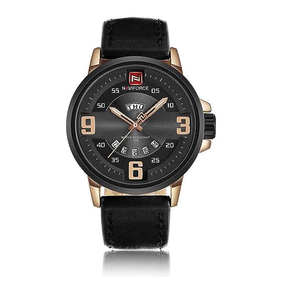 Naviforce - Reloj Deportivo para Hombre, Cuarzo, Fecha, Correa de Piel, Correa Militar, con Caja de Relogio: Amazon.es: Relojes