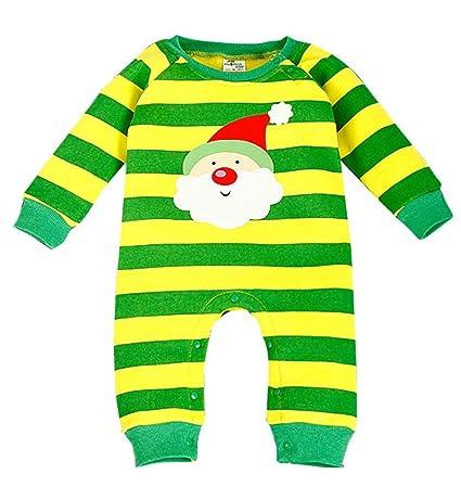 babyicon Bodies para bebé Pelele de rayas navidad pijamas pijama Mono amarillo Yellow Santa Claus Talla