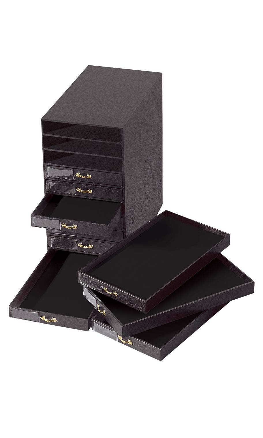 Black Faux Leather 10-Drawer Jewelry Storage Organizer - 14 5/8''L x 8 1/2''W x 16 1/4''H by SSWBasics
