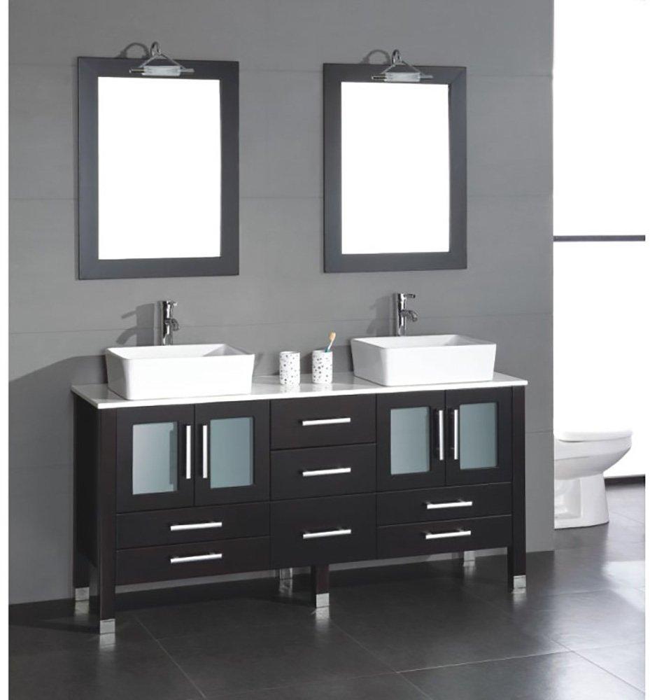 63 Inch Wood & Porcelain Double Sink Bathroom Vanity Set- ''Moniteau'' (Chrome Faucets)