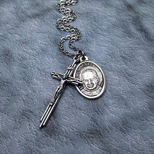 - Saint Maximilian Kolbe Crucifix Necklace. Alcohol Addiction Recovery Necklace