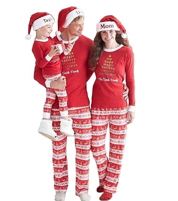 VLUNT Conjunto Pijamas Navidad Familia con Dos Piezas Top Manga Larga Pantalones Ropa de Dormir Rayas