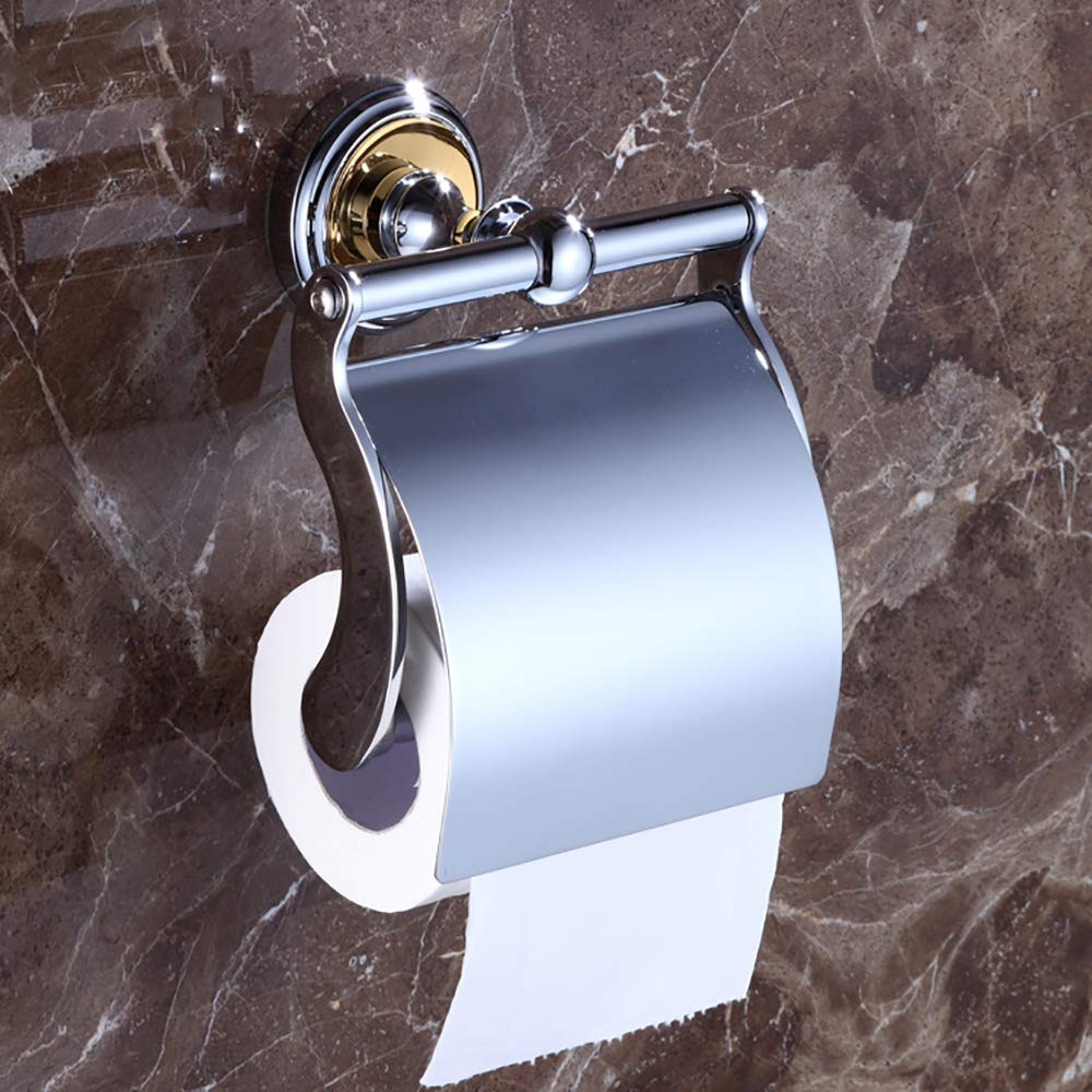 ESOCOME Bathroom Toilet Paper Holder Wall-Mounted Shelf Metal Copper Storage Rack