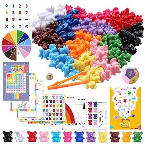 Rainbow Counting Bears with Activity Cards, Pre-School Math Learning Games, Addition, Subtraction, Multiplication, Fractions, Odd and Even, Math Manipulatives, Set of 132, Age 5+(12 Colors)