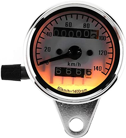 Moto Cuentakil/ómetros Veloc/ímetro Millas Tester Medidor de velocidad Medidor para DC 12V Motocicleta retro