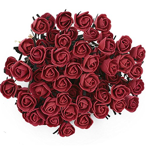 Sticky Foam Garden (SOLEDI 15 Heads Roll Heart Roses Foam Flower Arrangement Artificial Fake Bouquet Wedding Home Garden Decor - 5 Bundles(75 flowers) (Red))