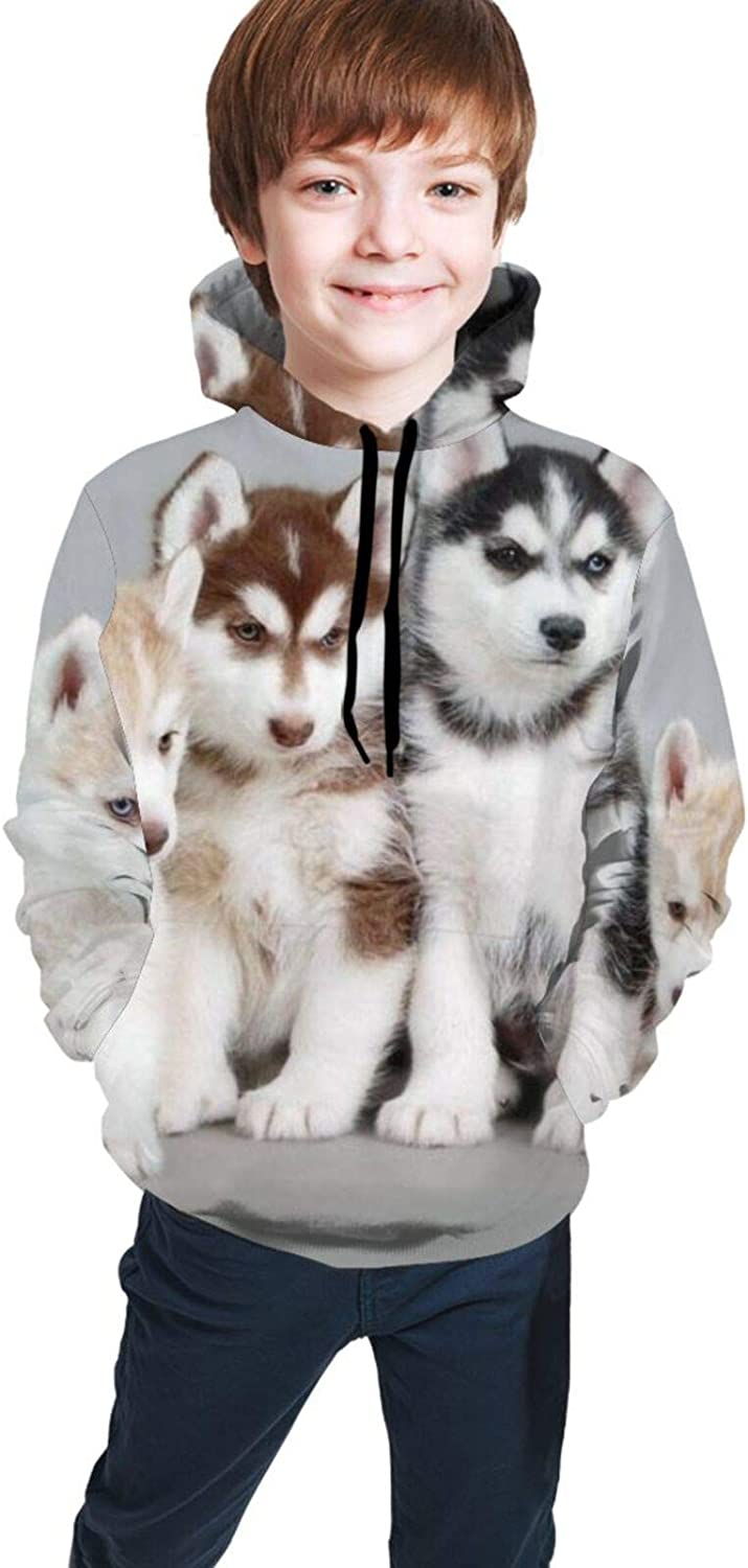TVHKSO Youth Hoodies Pullover Husky Sweater Hooded with Pocket Sweatshirt for Boys Girls