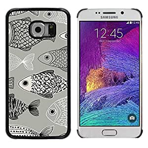 Paccase / SLIM PC / Aliminium Casa Carcasa Funda Case Cover para - Pattern Black White Pen Drawing - Samsung Galaxy S6 EDGE SM-G925