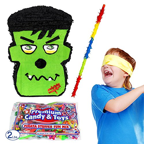 Pinatas Halloween Frankenstein Pinata Kit Including Pinata, Buster Stick, Bandana,  2 lbs. Candy (Halloween Bat Pinata)