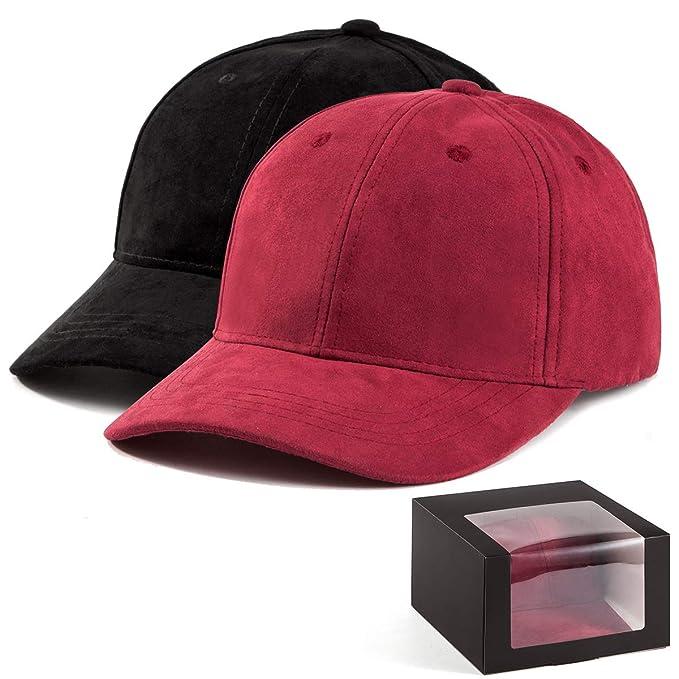12bc439099098a LADYBRO Dad Hat for Women Cap - 2Pack Wine+Black Baseball Cap Men Hat Sport