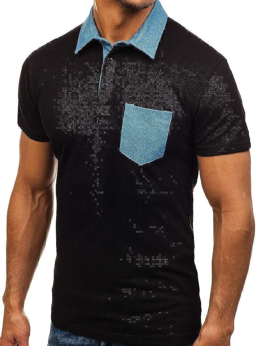 Zimaes-Men Short Sleve Relaxed Pocket Casual Polo Cowboy Blouse Tunic Shirt