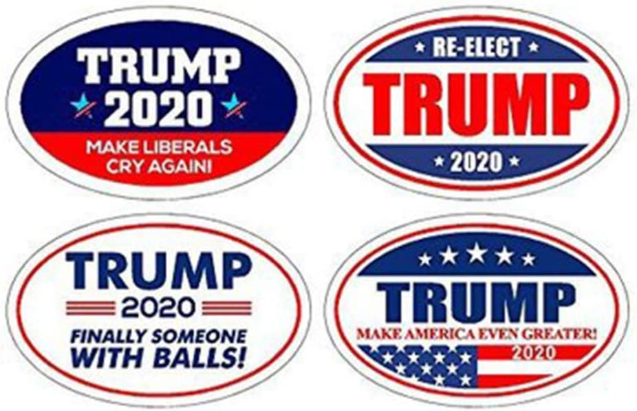 LIOOBO 4pcs 2020 Trump Fridge Magnets Oval Magnets Republican Magnets Donald Trump 2020 Decorations for Refrigerator Car