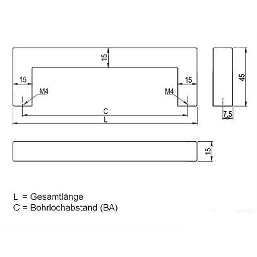 SO-TECH/® Manija barral Manija de mueble E3 Acero fino Distancia entre los pozos de sondeo 128 mm