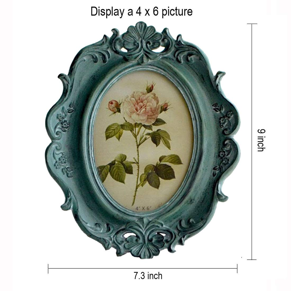 Silver City Source CISOO Vintage Oval Picture Frame 4x6 Antique Photo Frame Table Top Display and Wall Hanging Home Decor