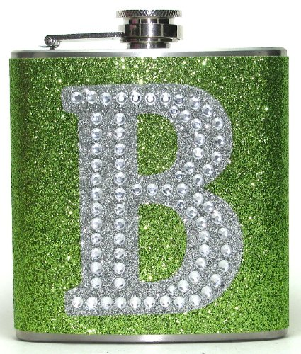 Lime Green Personalized Large Rhinestone Glitter Initial 6 oz Liquor Hip Flask Flasks Gift