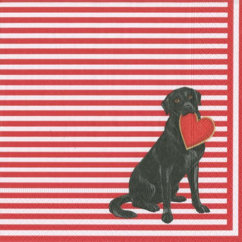 Valentines Day Lunch or Dog Birthday Party Paper Napkins Pup