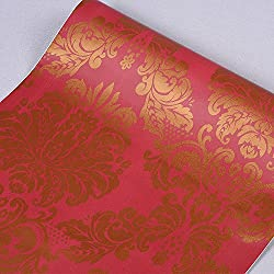 SimpleLife4U Red Golden Damask Self-Adhesive Shelf Drawer Liner PVC Contact Paper 45x300cm