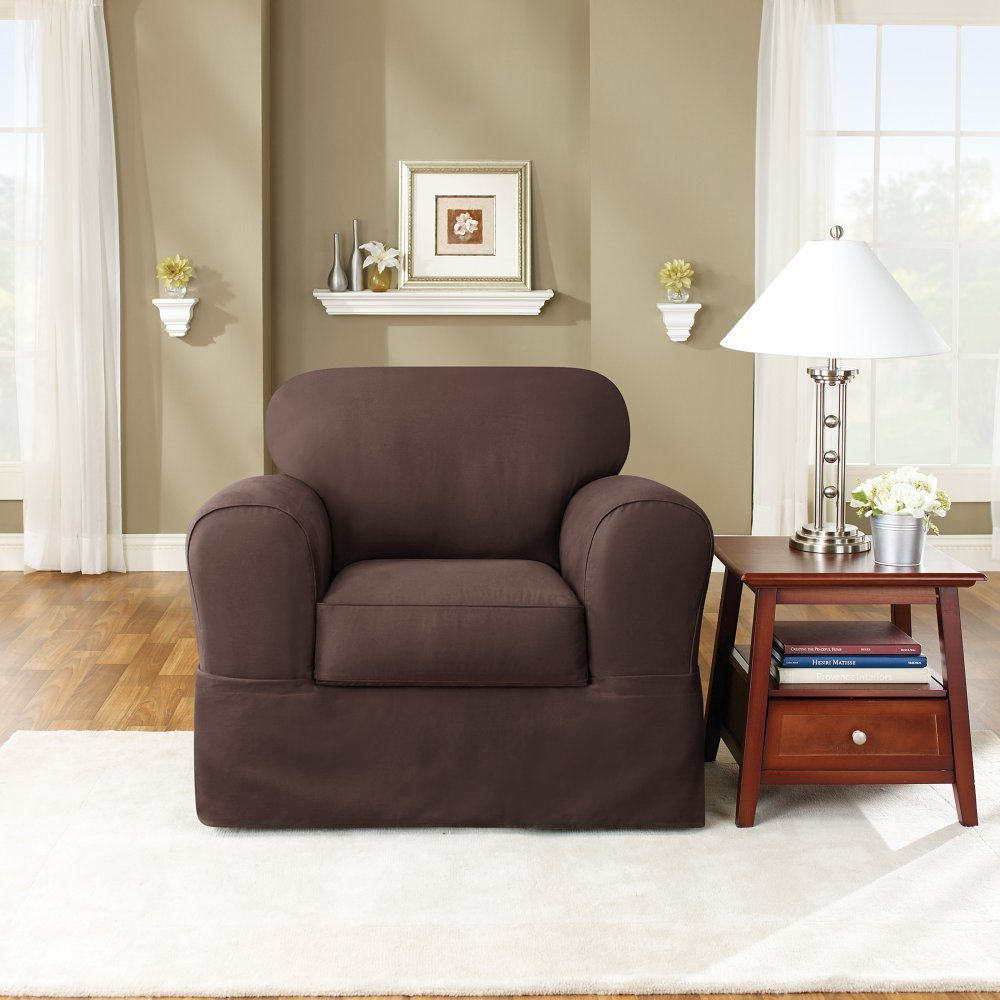 Sure Fit Twill Supreme Universal - Chair Slipcover  - Coffee (SF35379) by Surefit