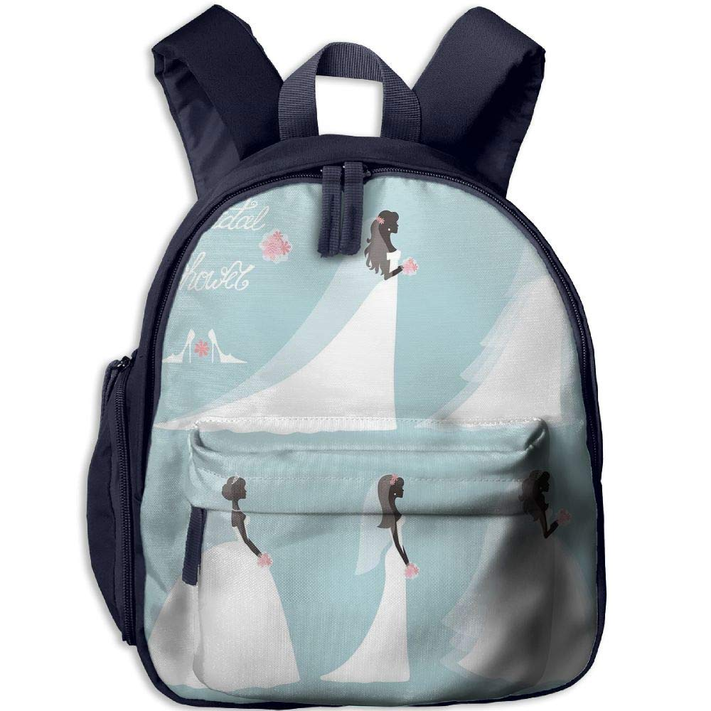 Haixia Students Boys'&Girls' School Backpack with Pocket Bridal Shower Decorations Fashion Design Wedding Bride Dress with Flowers Full Baby Blue White and Black