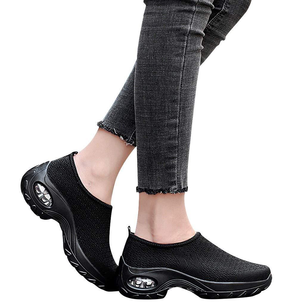 Juesi Women's Lightweight Athletic Air Cushion, Slip On Mesh Running Training Walking Sneakers