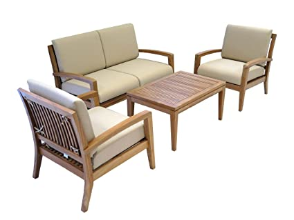 Ohana Teak Patio Furniture 4 Seater Conversation Set With Beige Cushions 4 Seater A