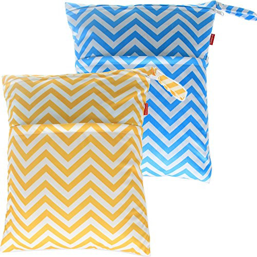 Damero 2pcs Pack Cute Travel Baby Wet and Dry Cloth Diaper Organizer Bag( Large, Yellow Chevron+Blue Chevron) (Extra Large Hanging Wet Bag compare prices)