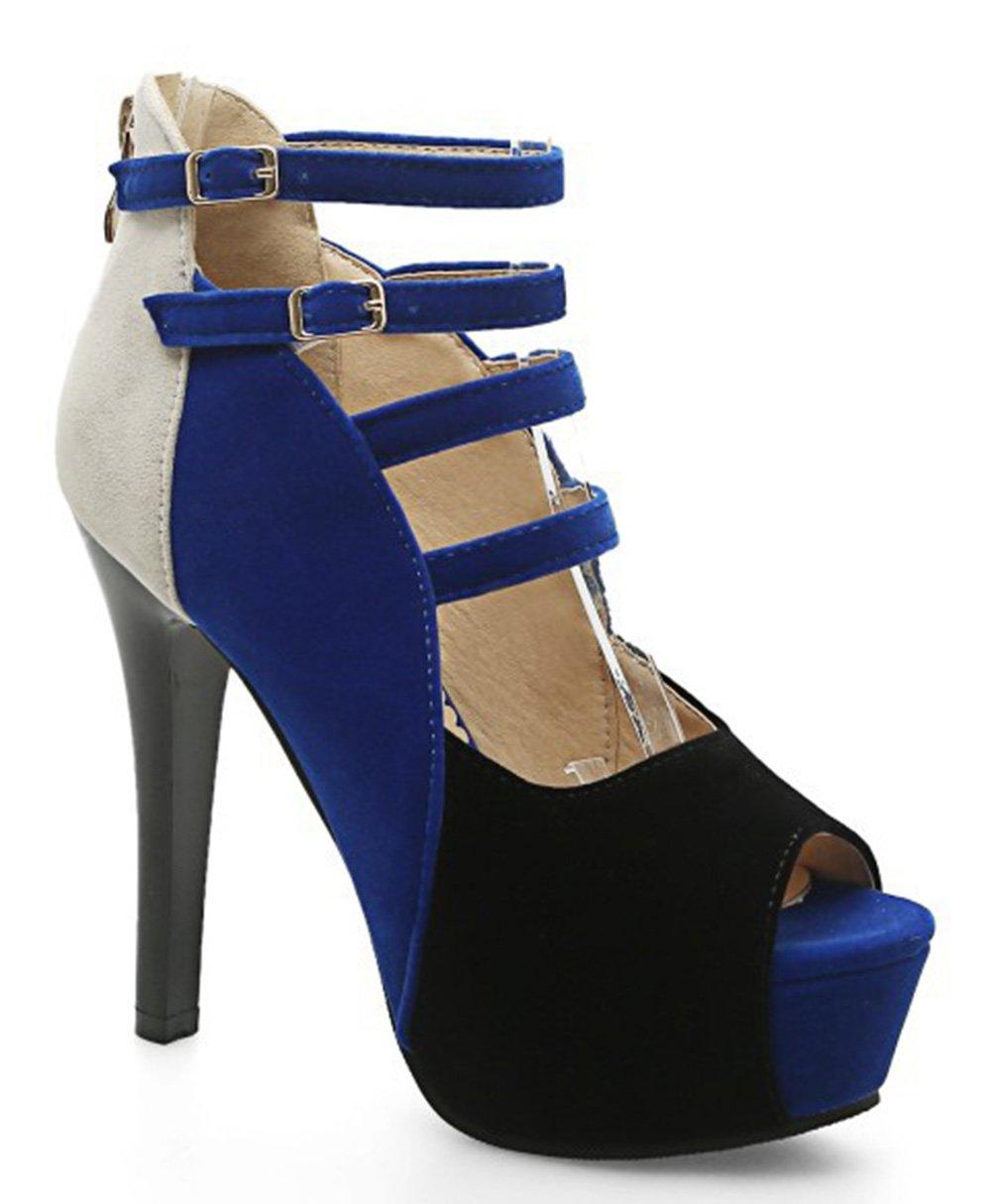 Easemax Damen Sexy Peep-Toe High Heels Plateau Cut Out Stiletto Reißverschluss Sandalen Blau 35 EU JoMzG