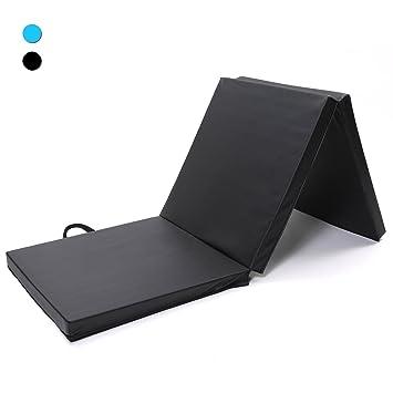 ISE Colchoneta de espuma 180cm, triple plegable, para gimnasia, fitness, yoga, aeróbics & ejercicio para casa e interiores Negro