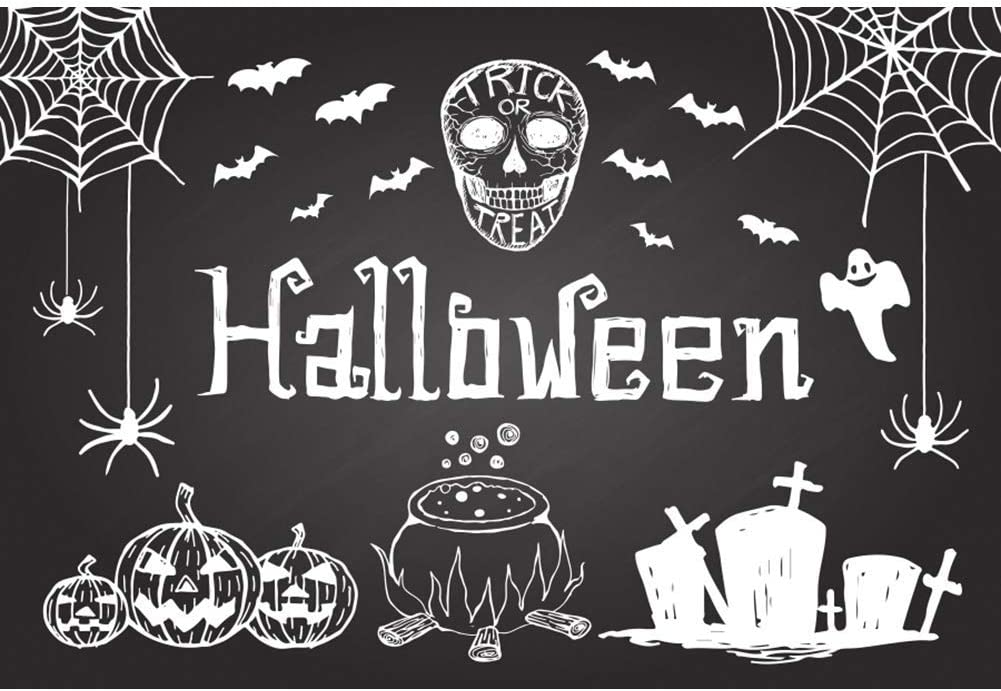 Halloween Background 8x6.5ft Abstract Chalk Drawing Photography Backdrop Trick or Treat Cartoon White Grimace Pumpkin Bat Spider Web Graveyard Cross Ghost Zombie Party Poster Photo Prop Decor