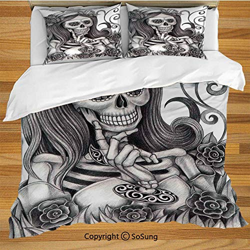 Skull Queen Size Bedding Duvet Cover Set,Sexy Skull Girl with Floral Veil Ceremony Day of The Dead Bride Skeleton Lady Art Decorative 3 Piece Bedding Set with 2 Pillow Shams,Grey -