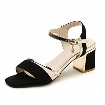 9f74ede7223 Fashion Sandals Women Thick with Open Toe Word Buckle with Square Head  Female Wild High Heel ...