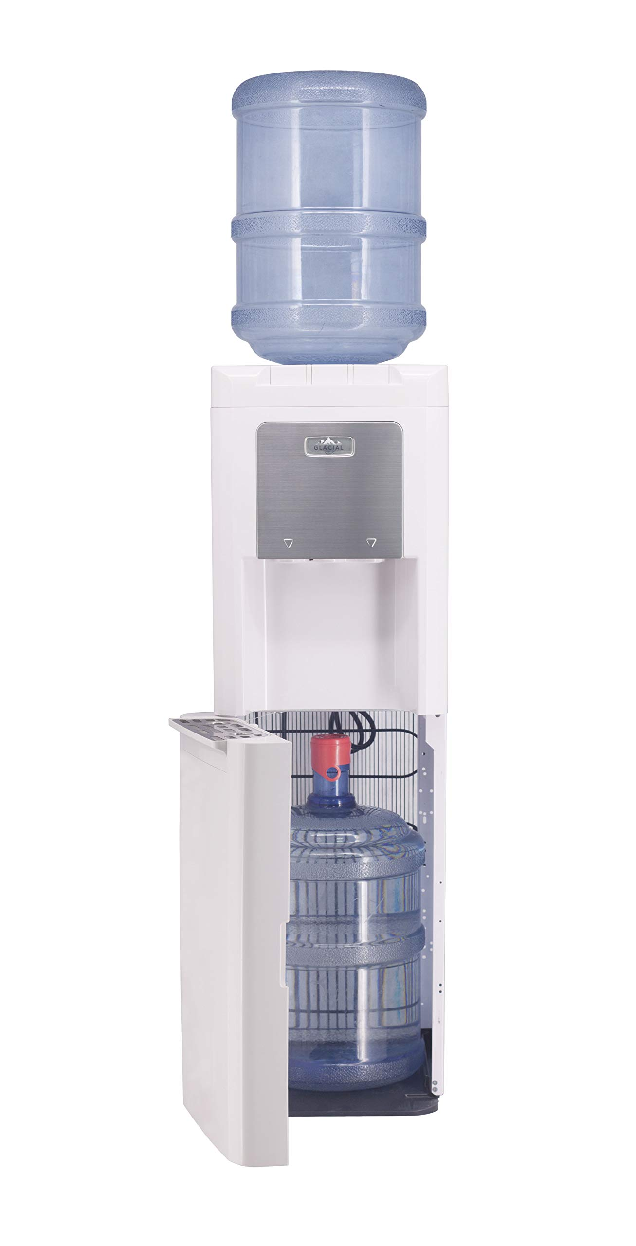 Glacial Extra Bottle Storage Water Cooler, with Ice Chilled Water, White and Stainless, Commercial Grade