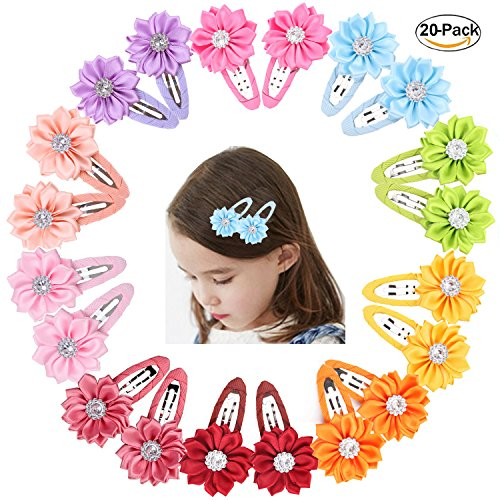 Prohouse 20 Pieces (10 Pairs) Boutique Baby Hair Flowers Snap Clips Wrapped Fabric Ribbon Berrettes Hair Pins For Toddler Girls Teens