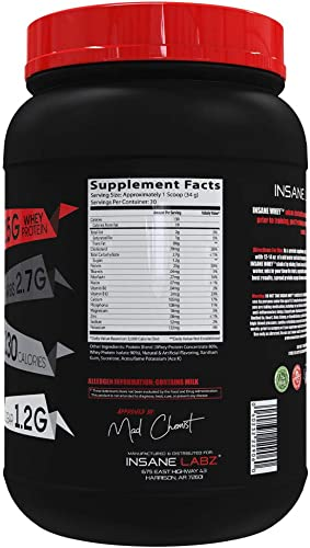 Insane Labz Insane Whey,100 Muscle Building Whey Protein, Natural Flavors,Pre or Post Workout, BCAA Amino Profile, Mass Gainer, Meal Replacement,Kosher Halal Approved,2 lbs, Vanilla
