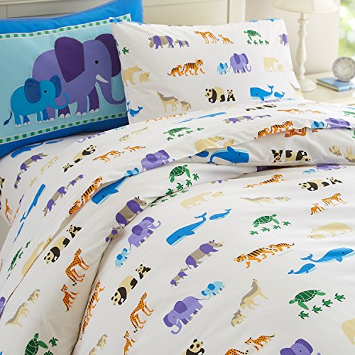 Wildkin Twin Duvet Cover, Super Soft 100% Cotton Twin Duvet Cover with Button Closure, Coordinates with Other Room Décor, Olive Kids Design – Endangered Animals by Wildkin