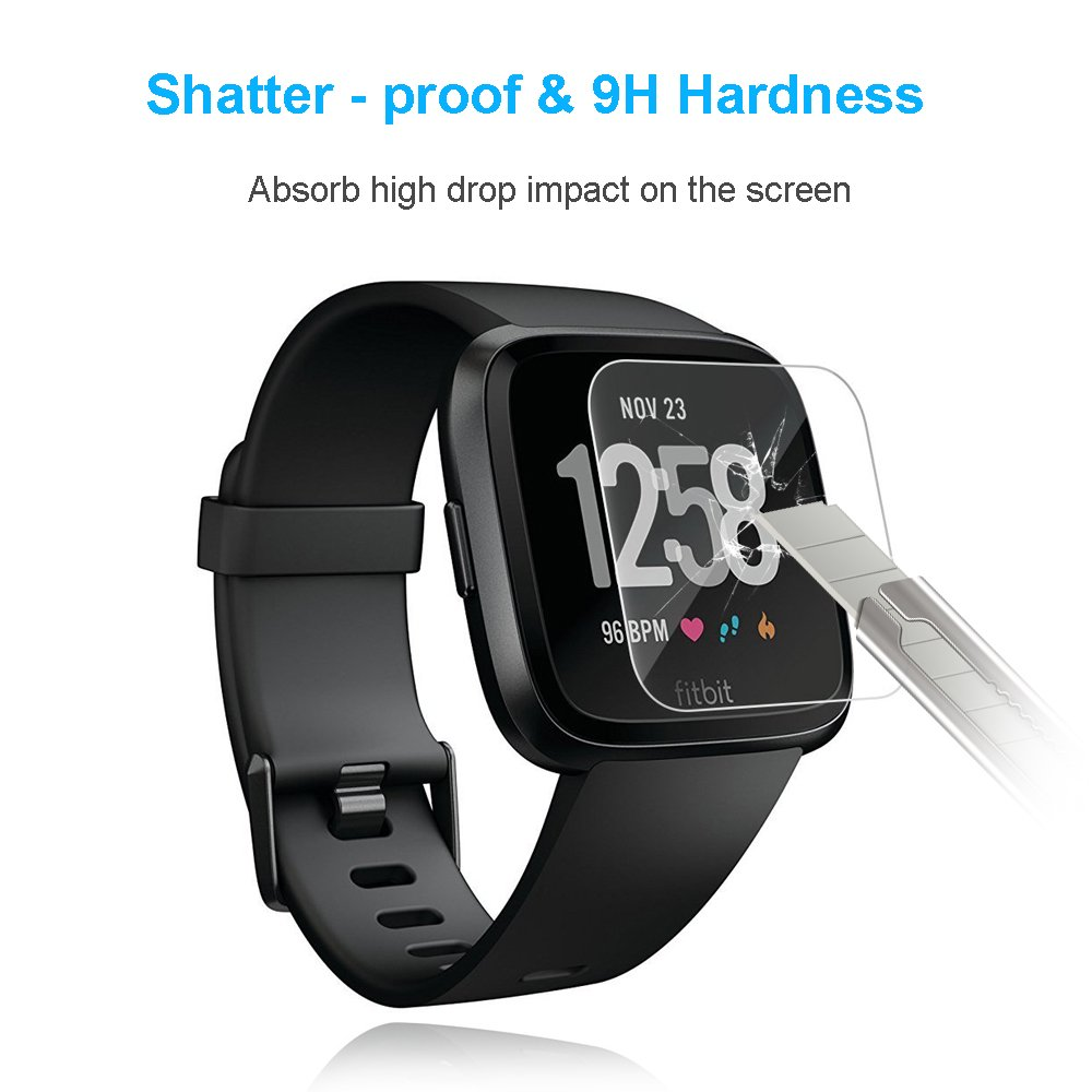 Fitbit Versa Tempered Glass Screen Protector, XBRN 2.5D Round Edge 9H Hardness HD Clear Bubbles-Free Screen Shield for Fitbit Versa Smart Watch (3 Packs)