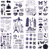 #7: Clear Stamps for Cards Making 8 Sheets Scrapbook Rubber Silicone for DIY Scrapbooking Seal Photo Album Wish Decorative Butterfly Love Heart Words Kits(12 sheets)