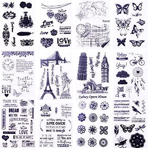 Clear Stamps Scrapbook Seal Rubber Silicone for DIY Scrapbooking clear Stamping Photo Album Wish Decorative Card Making 12 Sheets Kits(12 - Products Rubber Stamp