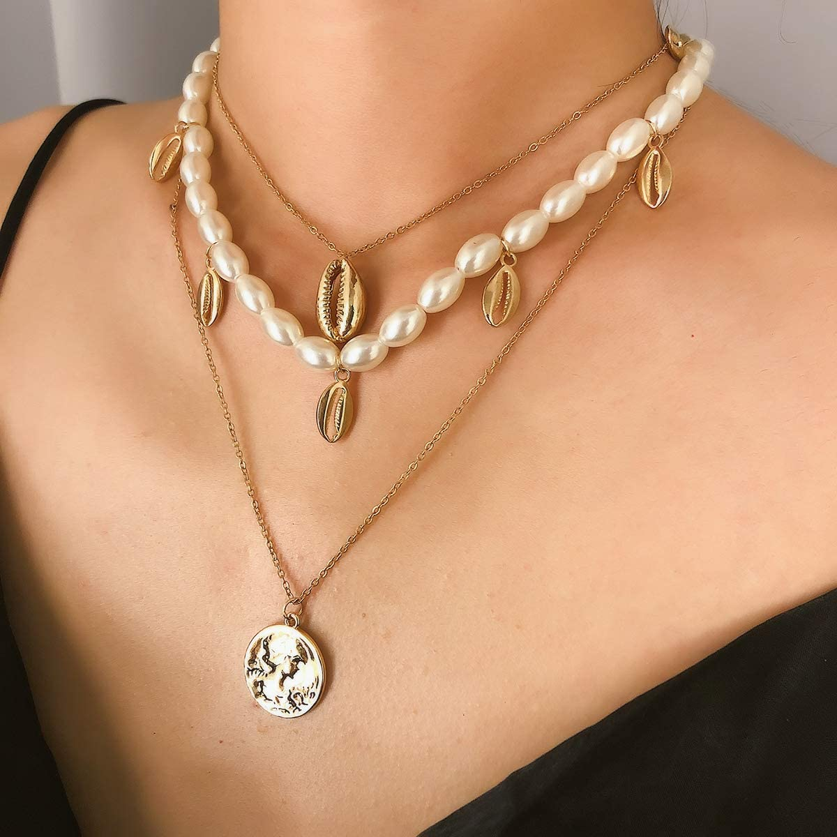 GOOD STUDIOS Pendant Necklace Layered Chain Choker Pearl Shell Coin Jewel Round Plate Lock Heart Gold Silver Tone for Women Girls Fashion Jewelry
