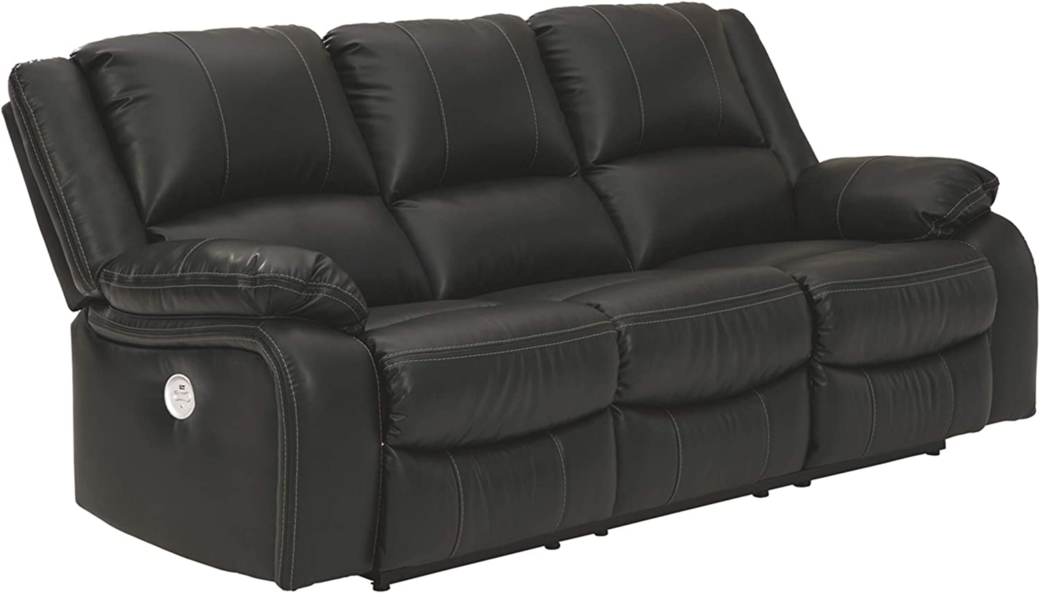 Signature Design by Ashley - Calderwell Contemporary Faux Leather Power Reclining Sofa - Adjustable - Black
