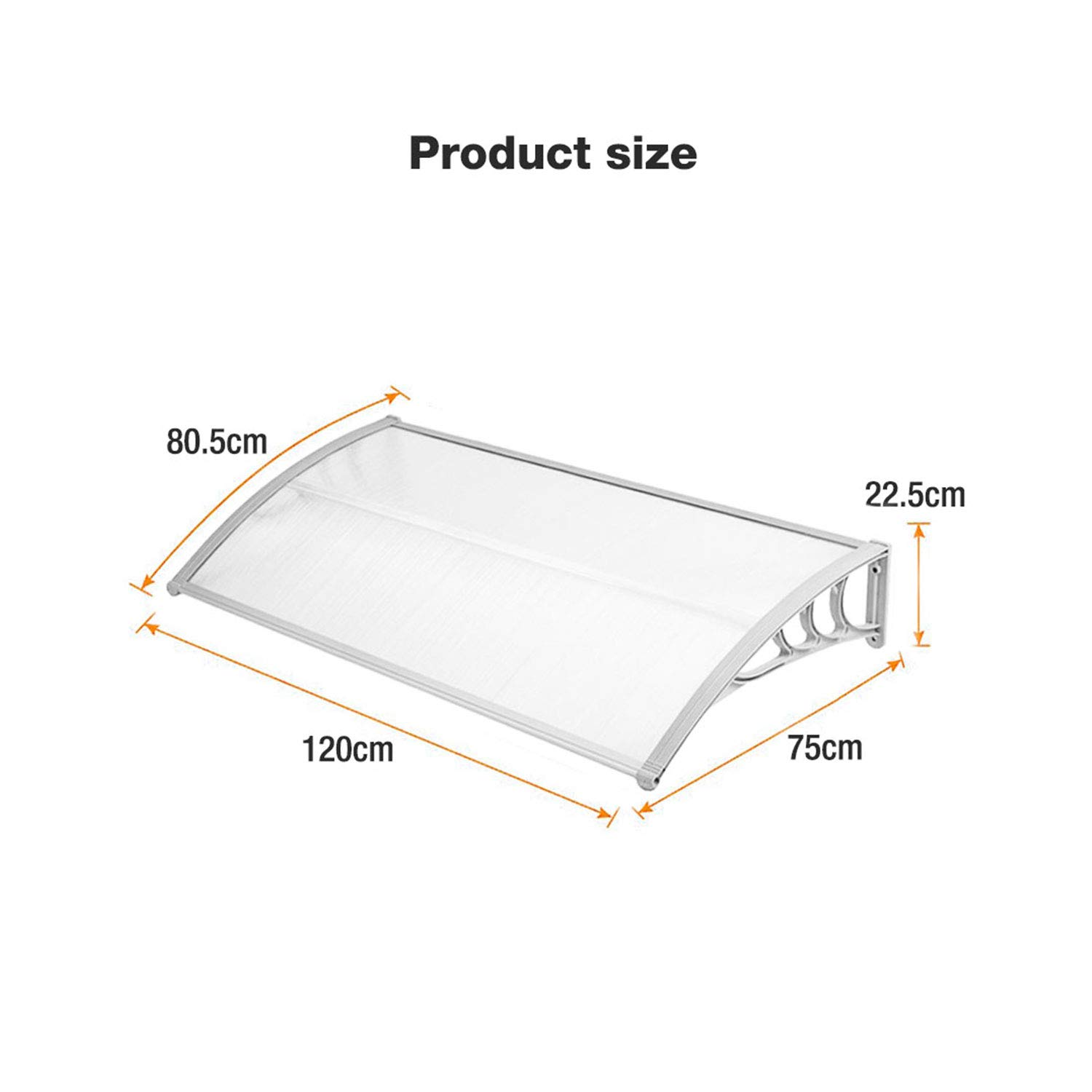 Door Canopy Awning Window Rain Shelter Cover for Front Door Porch Black 278x 90cm 109.4 x 35.4 inches
