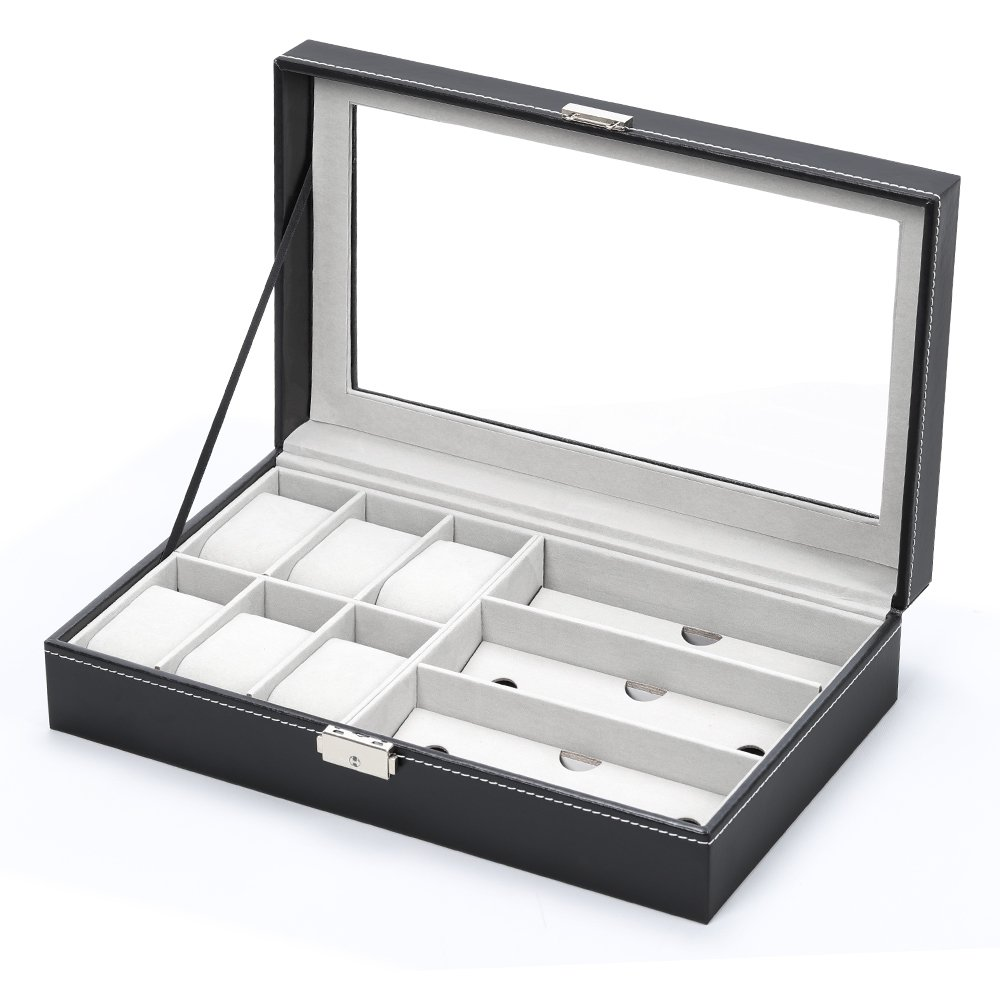 NEX Men Women 9 Slots Display Jewelry Storage Colleciton Box with 6 Piece Watch Case and 3 Piece Eyeglasses Plus Locker (NX-AA002)